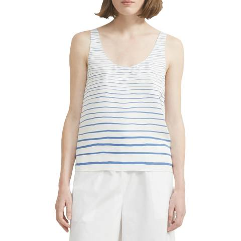 Theory Blue Stripes Scoop Neck Tank Top