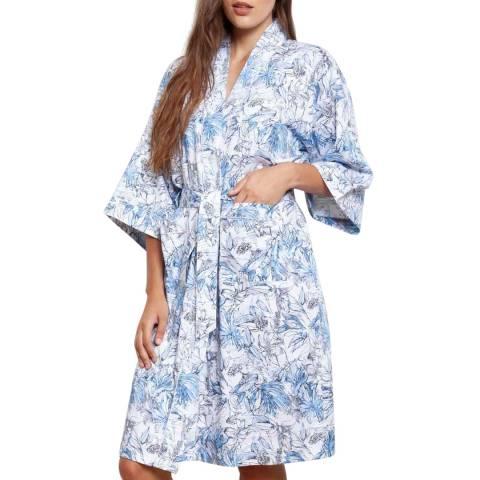 Cottonreal Blue Sateen Leafy Flora Cotton Kimono Wrap