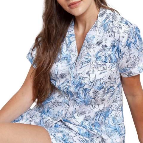 Cottonreal Blue Sateen Leafy Flora Cotton Shortie Pj Set