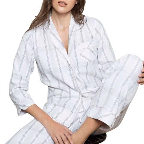 Cottonreal White Cotton Lawn Checks & Stripes Pj Set