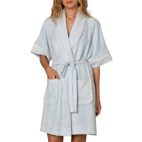 Cottonreal Blue Bamboo Cotton Terry Pique Mix-Match Lace Shawl Robe