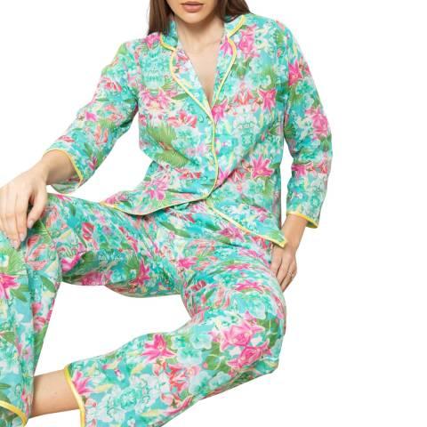 Cottonreal Blue/Pink Voile Lilly Fern Flora Pj Set
