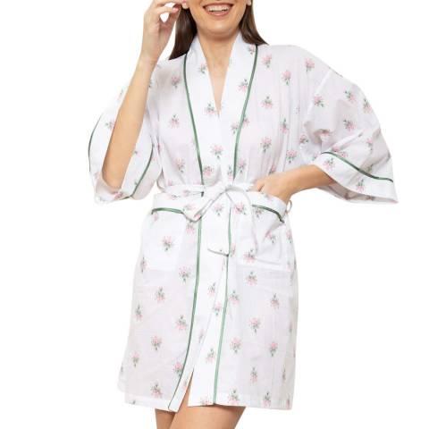 Cottonreal White/Pink/Green Voile Bouquet Kimono Wrap