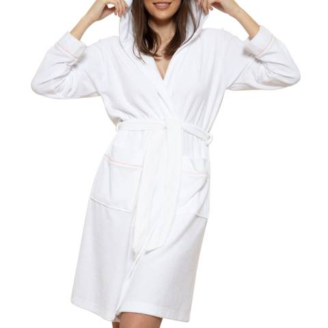Cottonreal White Rich Super Soft French Terry Hoodie Robe