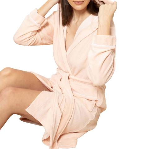 Cottonreal Pink Rich Super Soft French Terry Cotton Hoodie Robe