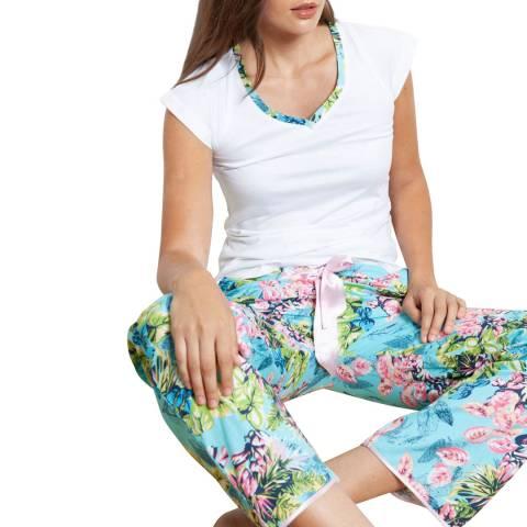 Cottonreal Blue/Multi Poplin Caribe Flora Cotton Mix-Match Pj Set
