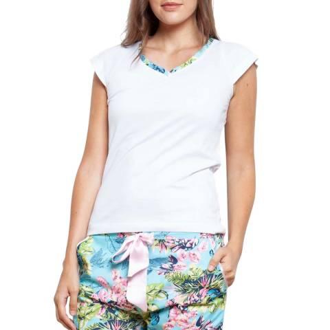 Cottonreal Blue/Multi Poplin Caribe Flora Cotton Shortie Pj Set