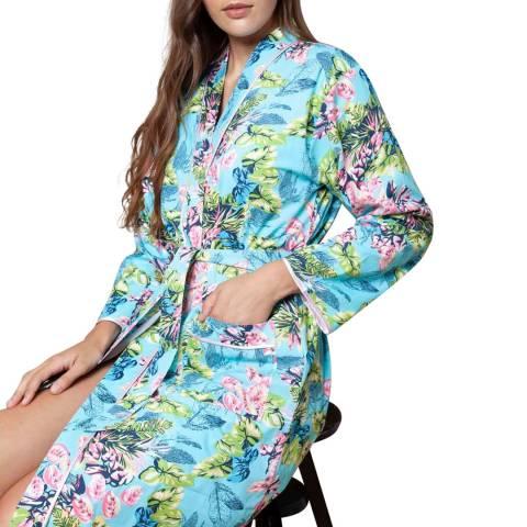 Cottonreal Blue/Multi Poplin Caribe Flora Cotton Kimono Wrap
