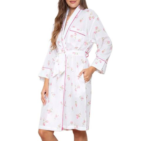 Cottonreal Pink/White Deluxe Voile Rosebud Grace Shawl Robe