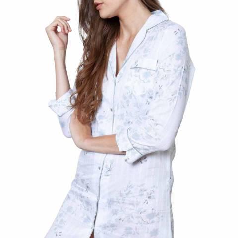 Cottonreal White Antique Flora Jaq Stripe Cotton Revere Shirt