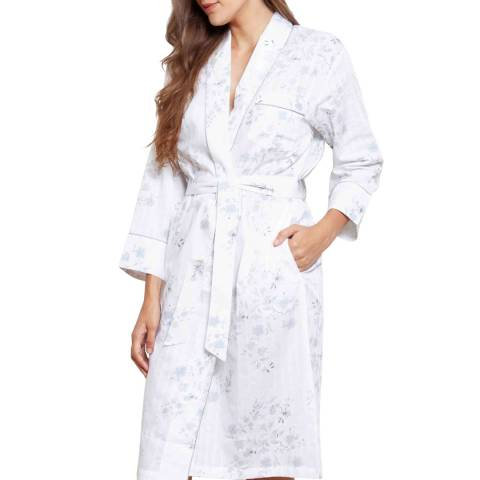 Cottonreal White Antique Flora Jaq Stripe Cotton Short Shawl Robe