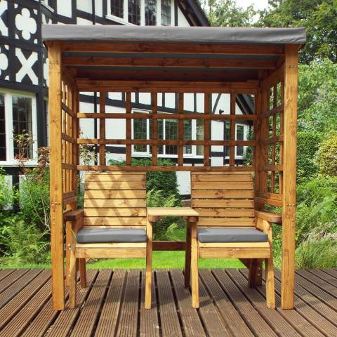 Charles Taylor Henley Twin Seat Arbour With Grey Cushions
