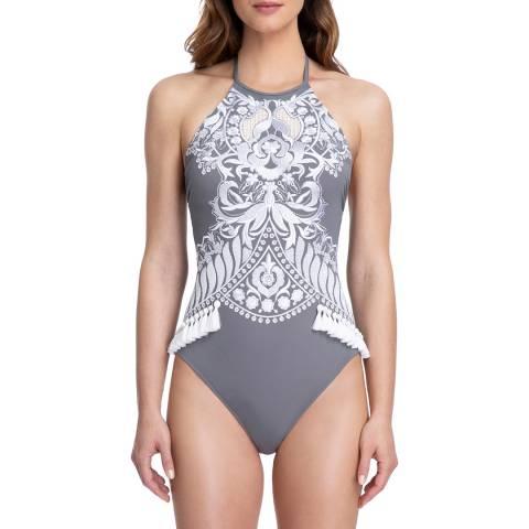 Gottex Grey Lyra High Neck Halter One Piece Swimsuit