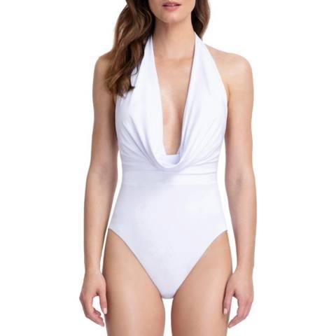 Gottex White Cassiopeia Deep Plunge Halter One Piece Swimsuit