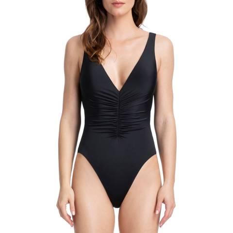 Gottex Black Cassiopeia Ruching V-Neck Plunge Swimsuit
