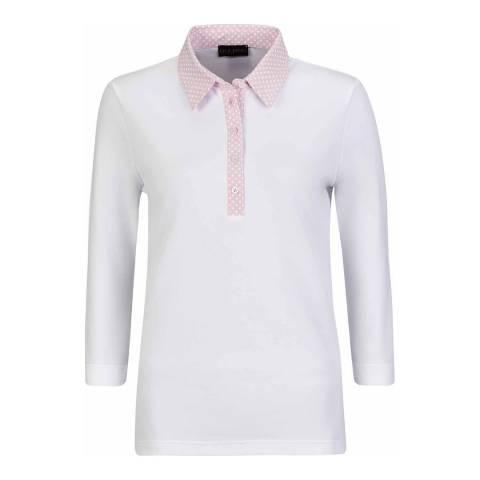 GOLFINO White 3/4 Sleeve Polo Shirt