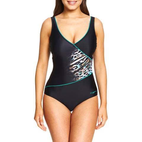 Zoggs Multi/Black Skin Deep Wrap front Swimsuit