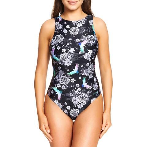 Zoggs Black/Multi Sakura Tie Back Swimsuit