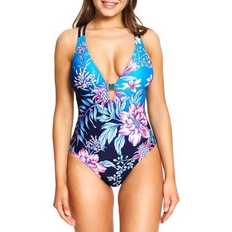 Zoggs Blue/Multi Wild Rose Crossback Swimsuit