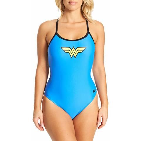 Zoggs Blue Wonderwoman Tri Back Swimsuit