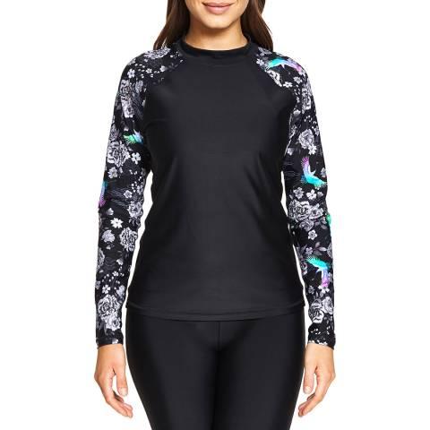 Zoggs Black/Multi Sakura Long Sleeve Top