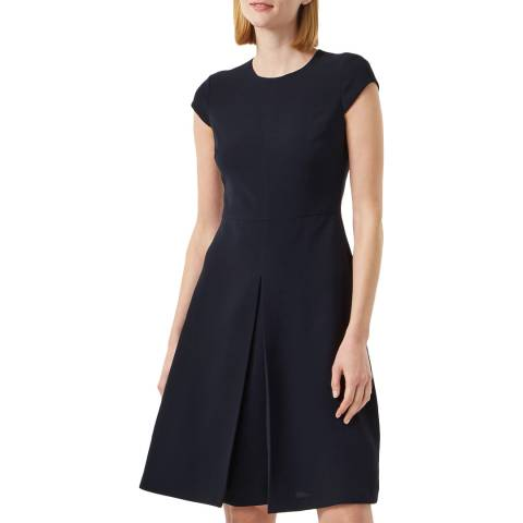 Hobbs London Navy Henna Fit And Flare Dress
