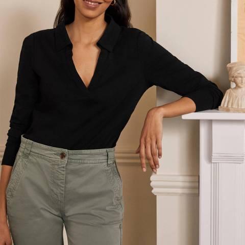 Boden Black Cotton Collar Notch T-Shirt