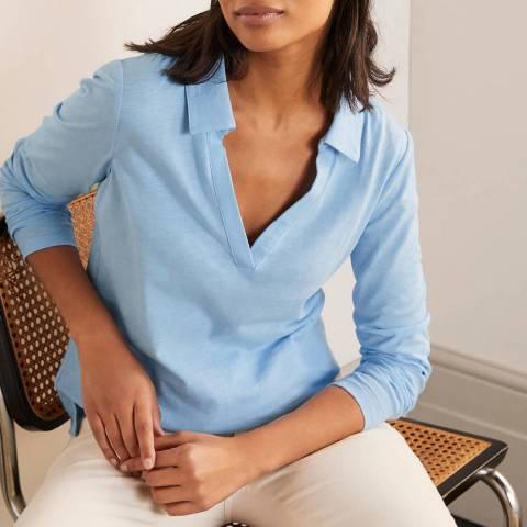 Boden Blue Cotton Collar Notch T-Shirt