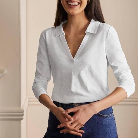 Boden White Cotton Collar Notch T-Shirt