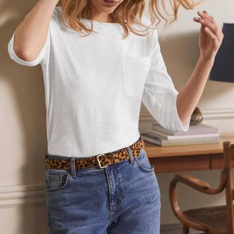 Boden White Cotton Boxy Boatneck T-Shirt