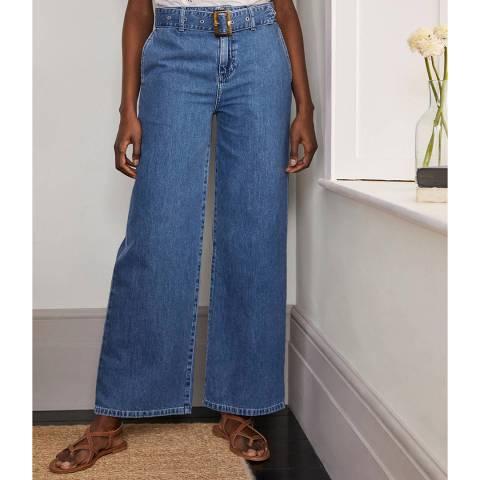 Boden Blue Belted Wide Leg Jeans