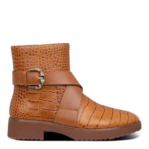 FitFlop Light Tan Helmi Croc Print Ankle Boots