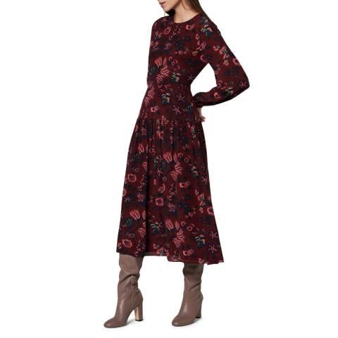 L K Bennett Red/Multi Julisa Silk Dress
