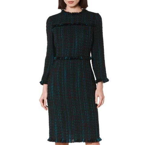 L K Bennett Navy Multi Tweed Josie Dress