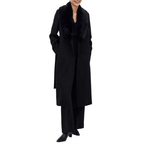 Mango Black Wool Blend Chain Coat