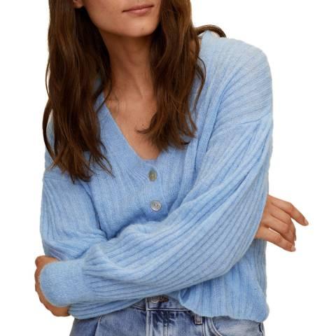 Mango Sky Blue Wool Blend Ribbed Knit Cardigan