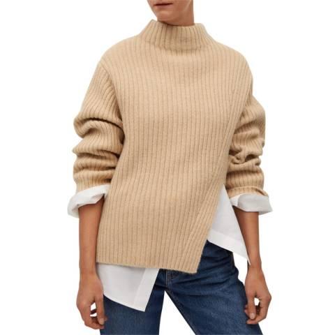 Mango Beige Cut-Out Knitted Jumper