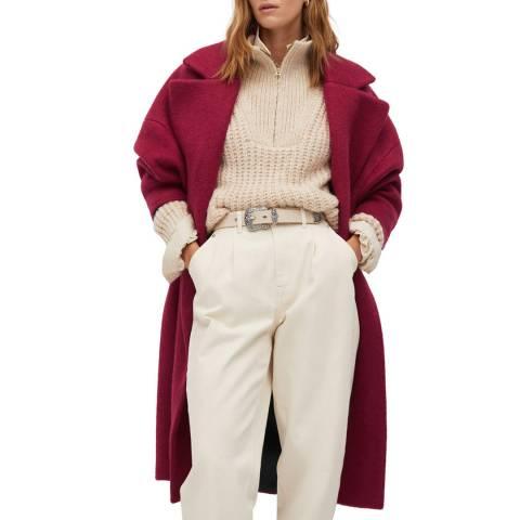 Mango Fuchsia Textured Wool Blend Wrap Coat