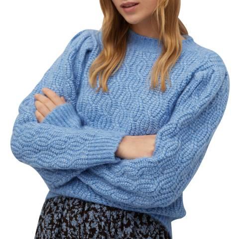 Mango Blue Knitted Wool Blend Braided Jumper