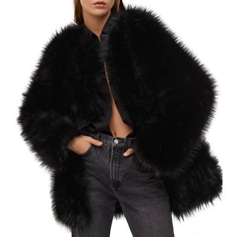 Mango Black Oversize Faux-Fur Coat