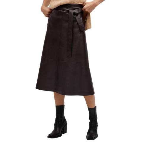 Mango Dark Brown Faux-Leather Skirt