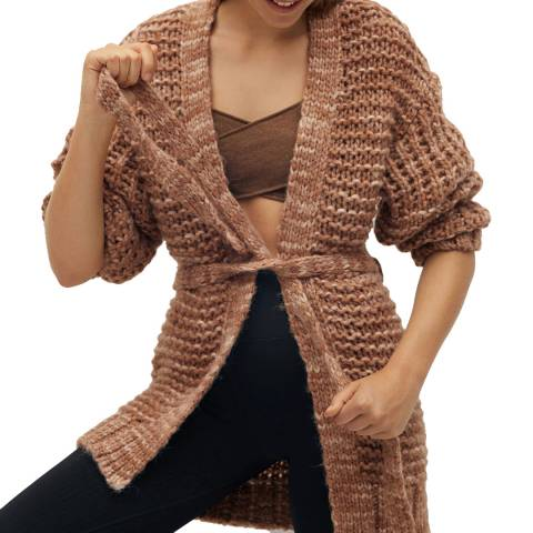 Mango Camel Wool Blend Belt Cardigan