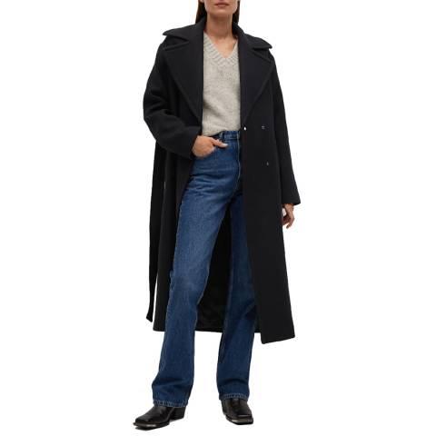 Mango Black Wool Blend Belted Coat