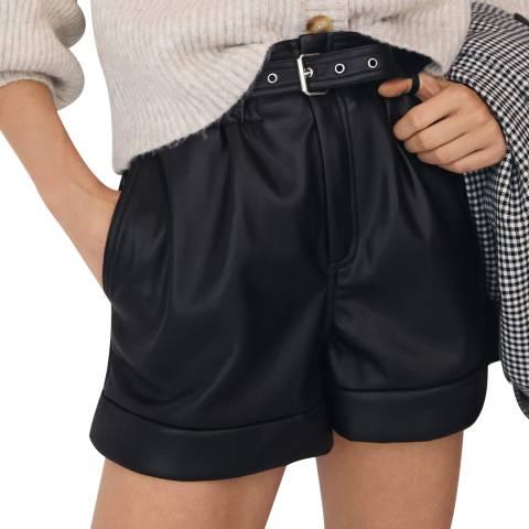 Mango Black Belted Leather-Effect Shorts