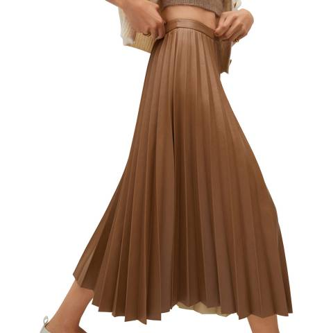 Mango Camel Faux-Leather Pleated Skirt
