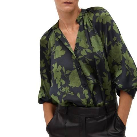 Mango Khaki Floral Print Blouse