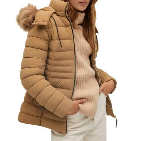 Mango Beige Faux Fur Hood Coat