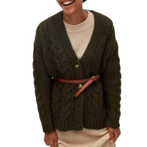 Mango Khaki Openwork Knit Cardigan
