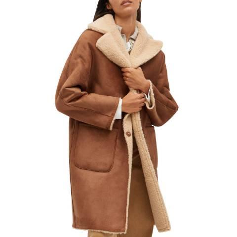 Mango Camel Reversible Faux Shearling-Lined Coat