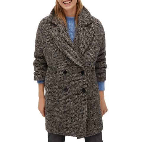 Mango Grey Textured Wool Blend Wrap Coat